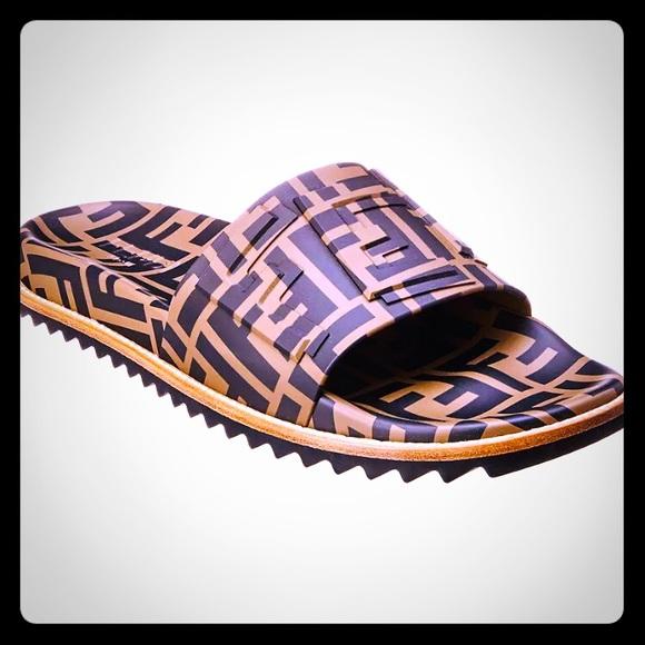 cd44237f Fendi Logo Rubber Sandals Slides NWT